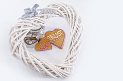 Heart shaped gingerbread with text and gray/white background. Valentines day symbol Stock Images