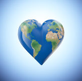 Heart shaped globe. With a visible world map Stock Images