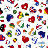 Heart shaped glossy flags of world sovereign states on white, seamless pattern Stock Photos