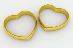 Heart shaped gold wedding rings. On white background. 3D render image vector illustration