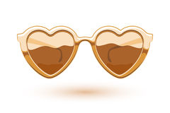 Heart shaped golden metallic sunglasses Stock Photography