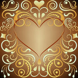 Heart shaped golden ornament Stock Photo