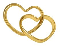 Heart shaped golden rings. Two linked golden rings in the shape of heart isolated on white background. 3D rendering Royalty Free Stock Photos