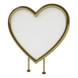 Heart-shaped golden sign board, isolated on white. Heart-shaped golden sign board, blank, isolated on white with clipping path, 3d illustration Stock Photography