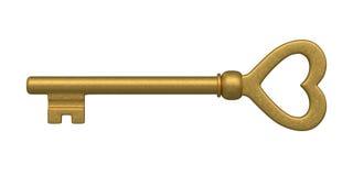 Heart Shaped Golden Skeleton Key. Beautiful golden skeleton key. isolated on white stock illustration