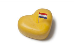 Heart shaped Gouda cheese with Dutch flag Royalty Free Stock Image