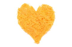 Heart shaped grated carrots on white background Stock Photography