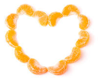 Heart-shaped group of mandarines on white background Stock Photo