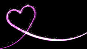 Heart shaped growing shiny Particle and line - Pink color stock footage