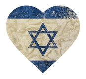 Heart shaped grunge vintage faded flag of Israel. Heart shaped old grunge vintage dirty faded shabby distressed Israel flag with blue Star of Judah Magen David Stock Photo