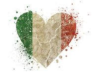 Heart shaped grunge vintage faded flag of Italy. Heart shaped old grunge vintage dirty faded shabby distressed Italy national flag with bang splash isolated on royalty free stock photos