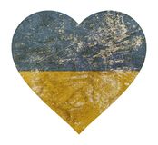 Heart shaped grunge vintage faded flag of Ukraine Royalty Free Stock Images
