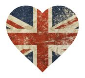 Heart shaped grunge vintage UK Great Britain flag. Heart shaped old grunge vintage dirty faded shabby distressed UK Great Britain national flag isolated on white Royalty Free Stock Photo