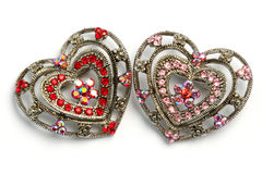 Heart shaped hair ornaments 07. Pair of hair ornaments with a heart shape Stock Photo