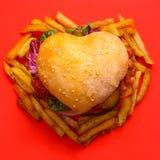 Heart shaped hamburger royalty free stock photo