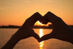 Heart-shaped hand royalty free stock image