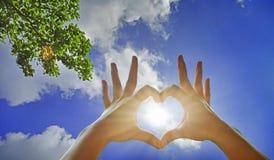 Heart-shaped hand gesture Stock Photos