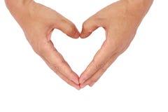 Heart-shaped hand. Said love, dedication, sympathy Stock Photography