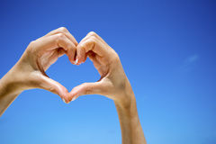 Heart shaped hands. Royalty Free Stock Photography