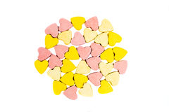 Heart shaped healthcare pills on white background Stock Image