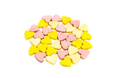 Heart shaped healthcare pills on white background Royalty Free Stock Image