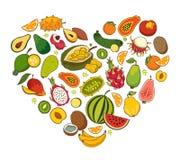 Heart shaped healthy foods Stock Photos