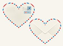 Heart shaped heart airmail envelope Royalty Free Stock Images