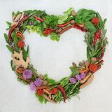 Heart Shaped Herb and Spice Wreath. Heart shaped herb leaf and spice wreath with a selection of fresh herbs and spices with flowers on rustic white wood stock images