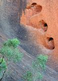 Heart shaped hole in rock. Holes in a rock at famous Uluru, a world heritage landscape in outback Australia. Ayers Rock. Northern Territory, Australia Stock Photo