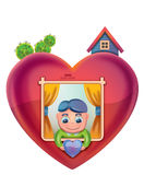 Heart shaped home Stock Photos