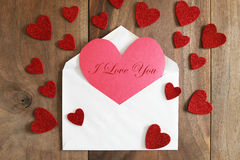 Heart Shaped Homemade Valentine`s Day Card on Rustic Wood Backgr Royalty Free Stock Photos