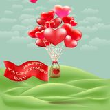 Heart-shaped hot air balloon taking off. EPS 10 Stock Photos