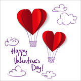 Heart-shaped hot air balloons Stock Images