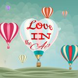Heart-shaped hot air balloons. EPS 10 Stock Images
