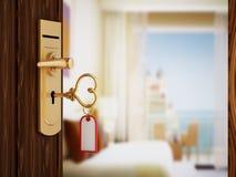 Heart shaped hotel room key Stock Photo