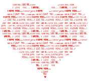 Heart shaped I love you red word cloud. Word cloud of red I love you message in various fonts in a form of heart Stock Photography