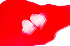Heart-shaped ice cubes Royalty Free Stock Images