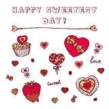 Heart shaped icons for Happy Sweetest Day. Chocolate box, Cupcake with cookies, chocolate covered strawberry, candies Royalty Free Stock Image