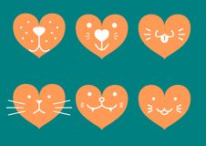 Heart shaped icons of pets face Stock Image