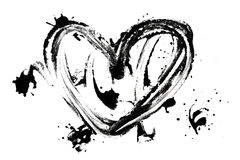 Heart shaped ink blots. On white stock images