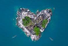Heart shaped island royalty free stock photos