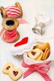 Heart-Shaped Jam Cookies Stock Photos
