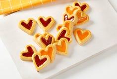 Heart shaped jam cookies Royalty Free Stock Photos