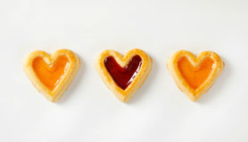 Heart shaped jam cookies Royalty Free Stock Image