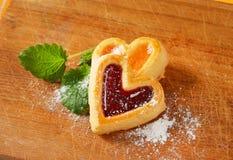 Heart shaped jam cookies Stock Photo