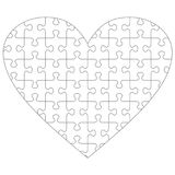 Heart shaped jigsaw puzzle template Royalty Free Stock Image