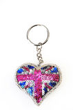 Heart shaped key chain  isolated on white Royalty Free Stock Image