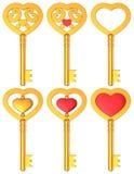 Heart Shaped Key 3D Gold Set Stock Image
