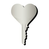 Heart shaped key icon image Stock Photos