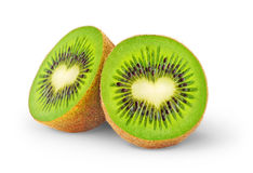 Heart-shaped kiwi fruit Stock Photos